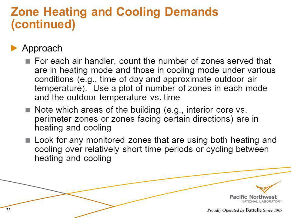 Zone Heating and Cooling Demands (continued) Approach For each air handler, count the number of zones served that are in heating mode and those in coo