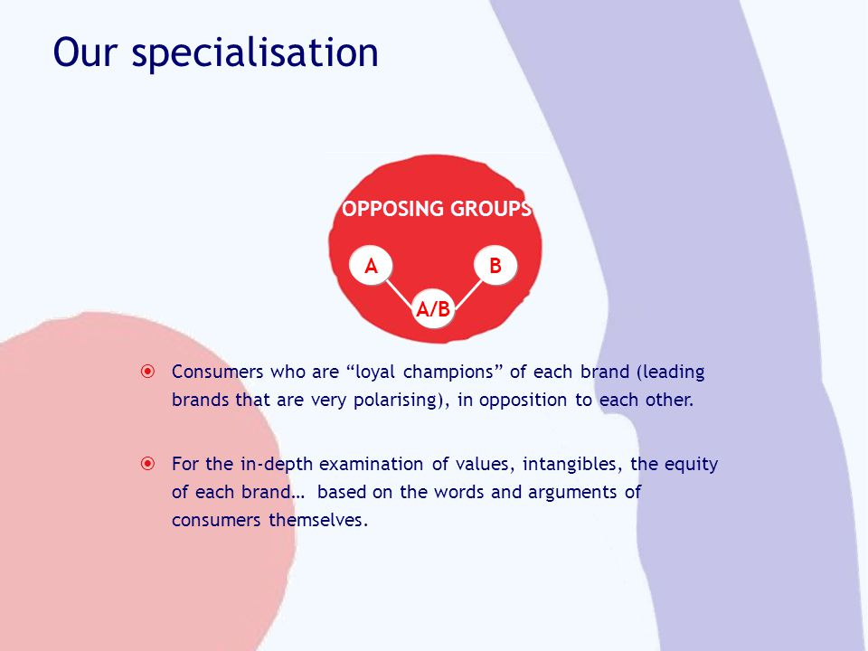 Our specialisation Consumers who are loyal champions of each brand (leading brands that are very polarising), in opposition to each other. For the in-