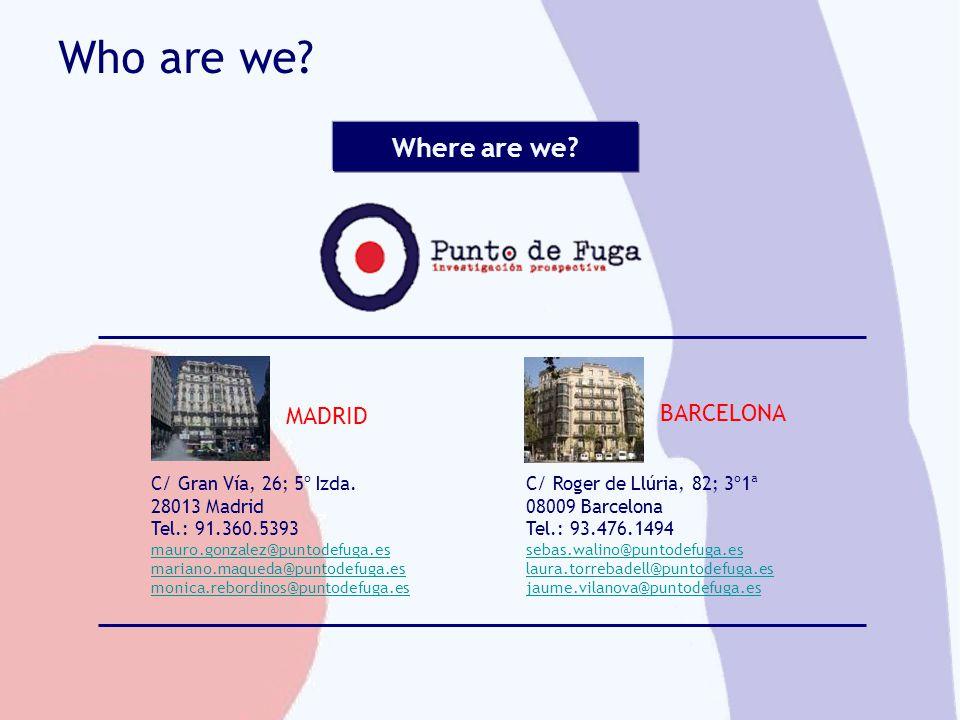 Who are we? MADRID BARCELONA Where are we? C/ Gran Vía, 26; 5º Izda. 28013 Madrid Tel.: 91.360.5393 mauro.gonzalez@puntodefuga.es mariano.maqueda@punt