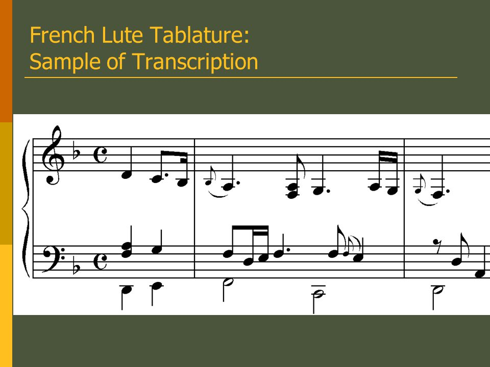 French Lute Tablature: Sample of Transcription
