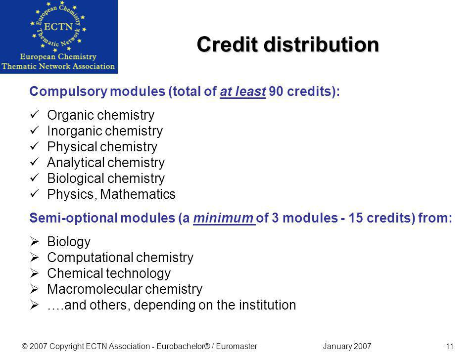January 2007© 2007 Copyright ECTN Association - Eurobachelor® / Euromaster10 At least 150 of the 180 credits should deal with chemistry, physics, biol