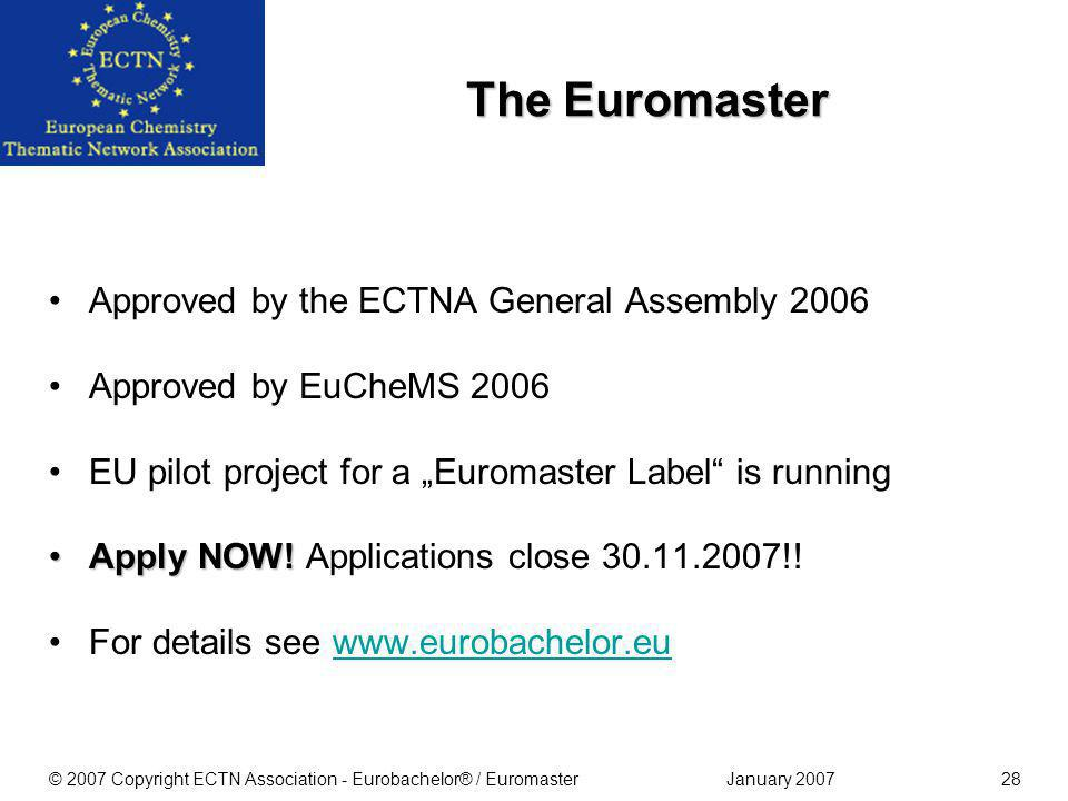 January 2007© 2007 Copyright ECTN Association - Eurobachelor® / Euromaster27 ECTNA has now licensed the award of the Eurobachelor ® Label to three partner organisations GermanASIINThe German accreditation agency ASIIN www.asiin.de Royal Society of ChemistryThe Royal Society of Chemistry, UK www.rsc.org Società di Chimica ItalianaThe Società di Chimica Italiana www.soc.chim.it For details of applications to them see their websites