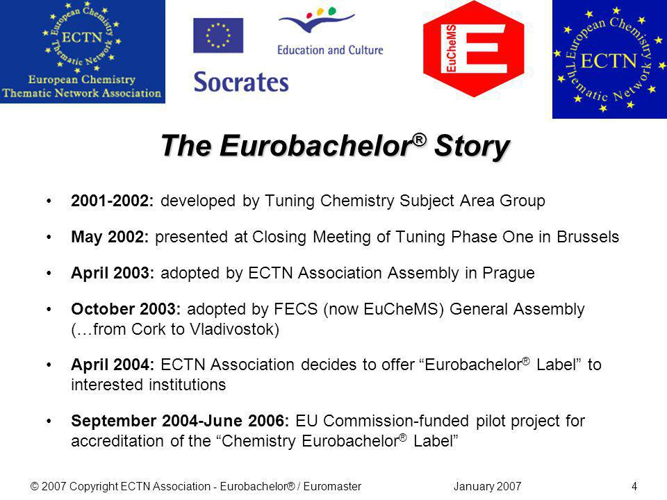 January 2007© 2007 Copyright ECTN Association - Eurobachelor® / Euromaster4 2001-2002: developed by Tuning Chemistry Subject Area Group May 2002: presented at Closing Meeting of Tuning Phase One in Brussels April 2003: adopted by ECTN Association Assembly in Prague October 2003: adopted by FECS (now EuCheMS) General Assembly (…from Cork to Vladivostok) April 2004: ECTN Association decides to offer Eurobachelor ® Label to interested institutions September 2004-June 2006: EU Commission-funded pilot project for accreditation of the Chemistry Eurobachelor ® Label The Eurobachelor ® Story
