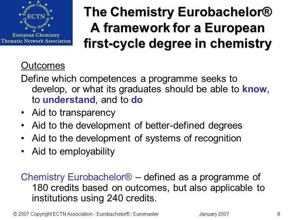 January 2007© 2007 Copyright ECTN Association - Eurobachelor® / Euromaster28 The Euromaster Approved by the ECTNA General Assembly 2006 Approved by EuCheMS 2006 EU pilot project for a Euromaster Label is running Apply NOW!Apply NOW.