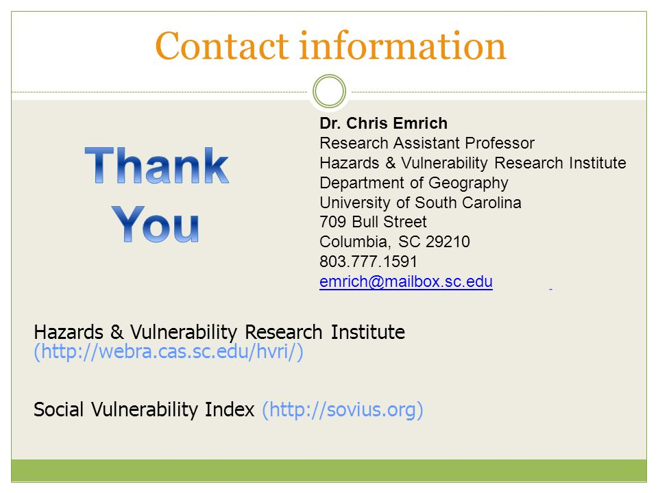 Hazards & Vulnerability Research Institute (  Social Vulnerability Index (  Dr.