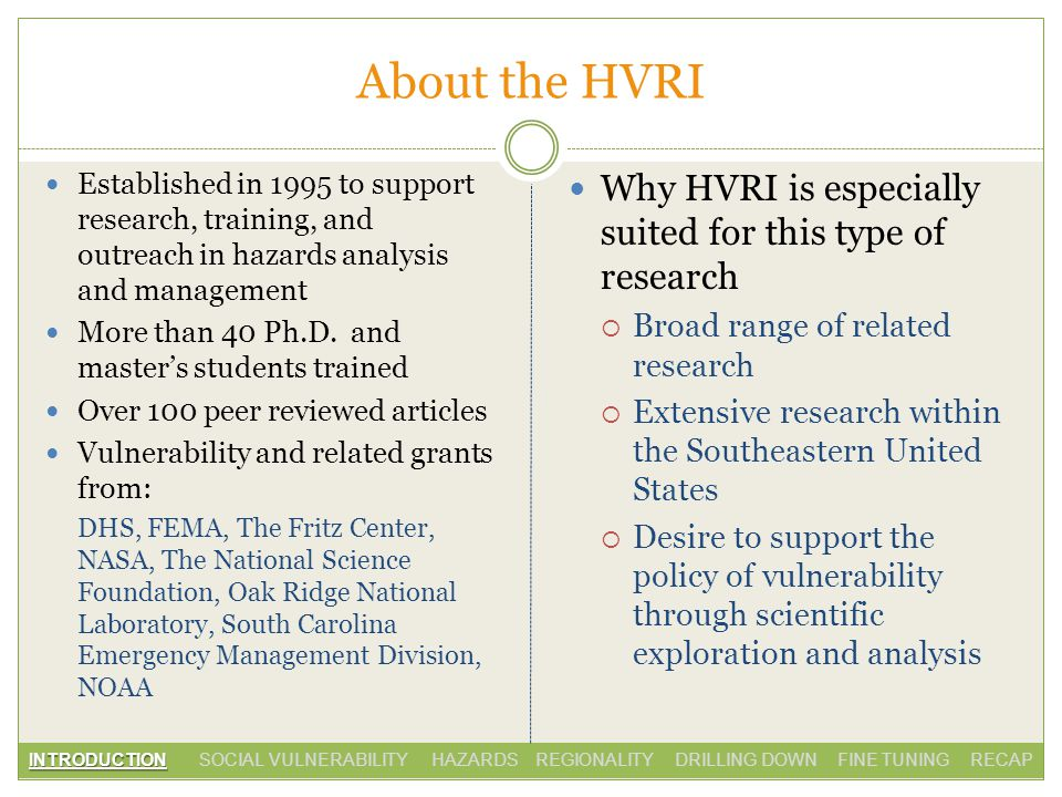About the HVRI Why HVRI is especially suited for this type of research Broad range of related research Extensive research within the Southeastern United States Desire to support the policy of vulnerability through scientific exploration and analysis Established in 1995 to support research, training, and outreach in hazards analysis and management More than 40 Ph.D.