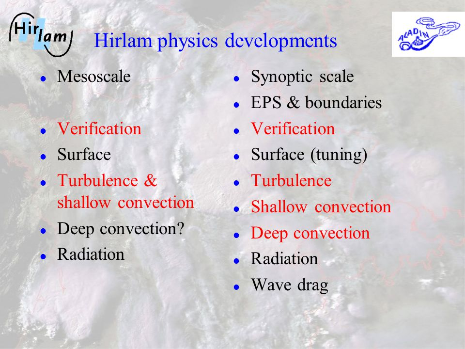 Hirlam physics developments Mesoscale Verification Surface Turbulence & shallow convection Deep convection.