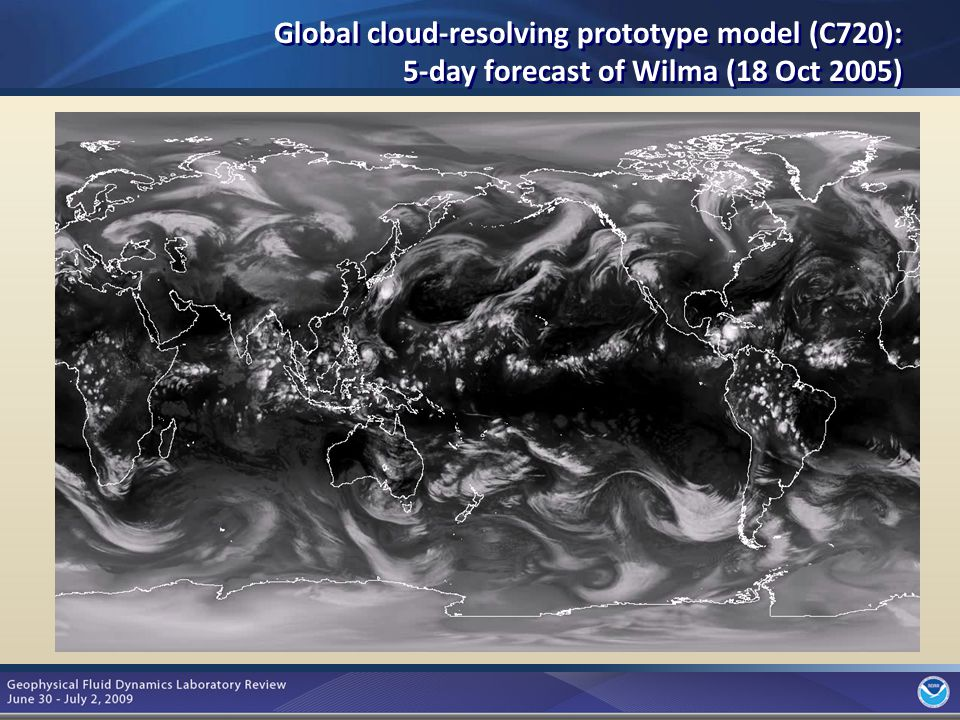 10 Global cloud-resolving prototype model (C720): 5-day forecast of Wilma (18 Oct 2005)