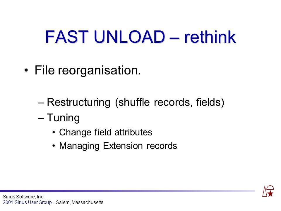 Sirius Software, Inc 2001 Sirius User Group - Salem, Massachusetts FAST UNLOAD – rethink File reorganisation.