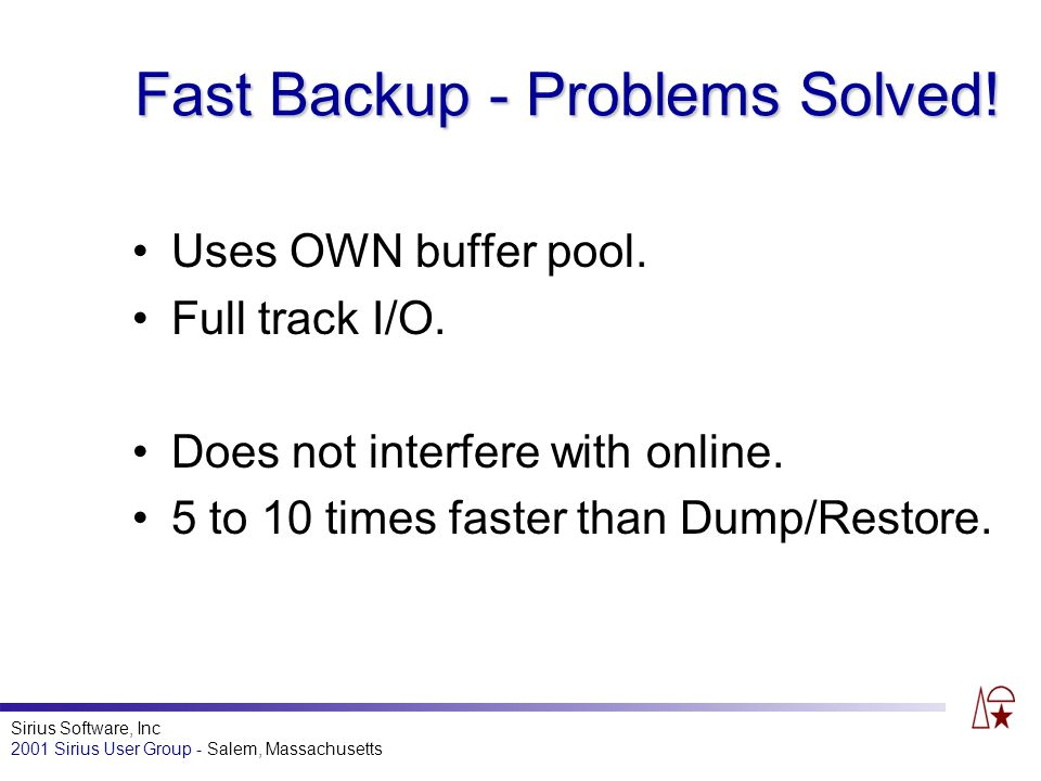 Sirius Software, Inc 2001 Sirius User Group - Salem, Massachusetts Fast Backup - Problems Solved.