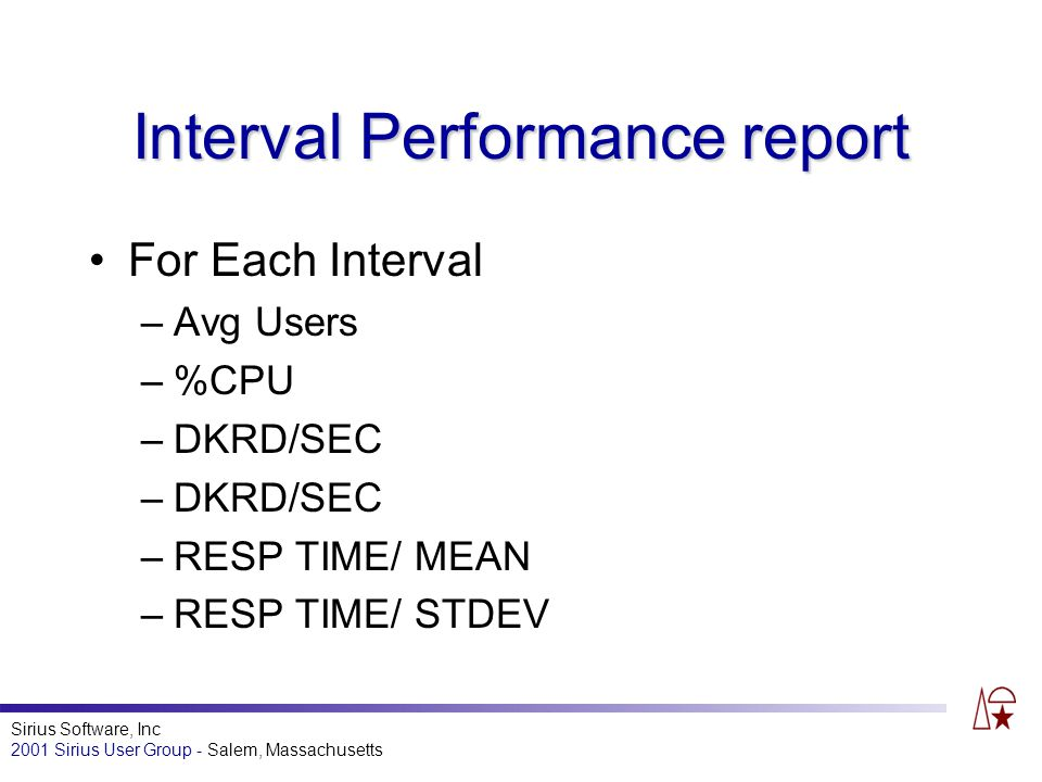Sirius Software, Inc 2001 Sirius User Group - Salem, Massachusetts Interval Performance report For Each Interval –Avg Users –%CPU –DKRD/SEC –RESP TIME/ MEAN –RESP TIME/ STDEV