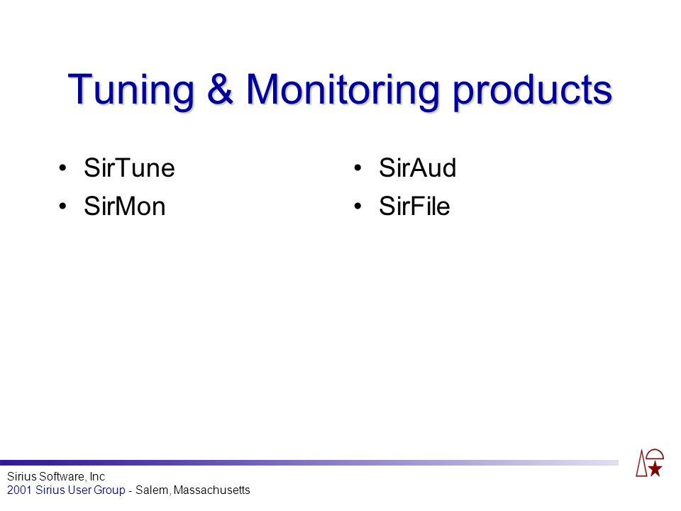 Sirius Software, Inc 2001 Sirius User Group - Salem, Massachusetts Tuning & Monitoring products SirTune SirMon SirAud SirFile