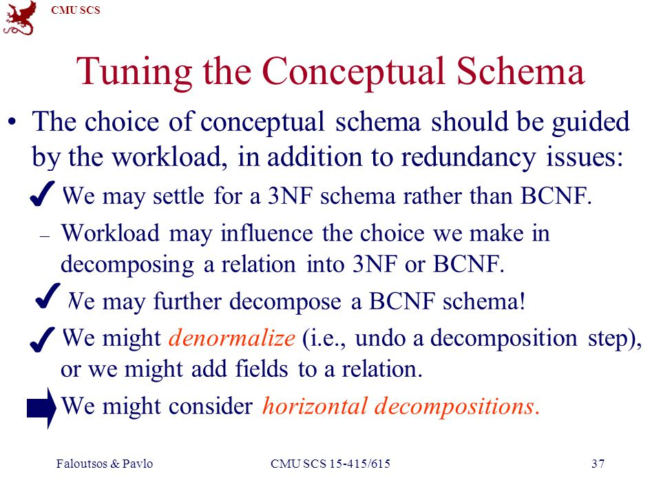 CMU SCS Faloutsos & PavloCMU SCS 15-415/61537 Tuning the Conceptual Schema The choice of conceptual schema should be guided by the workload, in addition to redundancy issues: – We may settle for a 3NF schema rather than BCNF.