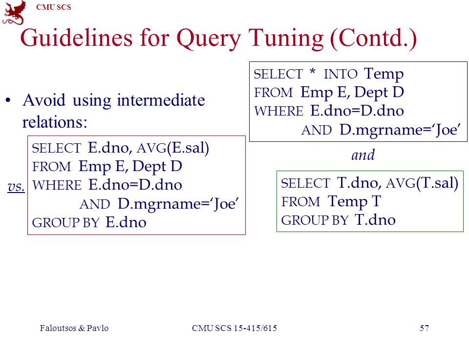 CMU SCS Faloutsos & PavloCMU SCS 15-415/61557 Guidelines for Query Tuning (Contd.) Avoid using intermediate relations: SELECT * INTO Temp FROM Emp E, Dept D WHERE E.dno=D.dno AND D.mgrname=Joe SELECT T.dno, AVG (T.sal) FROM Temp T GROUP BY T.dno vs.