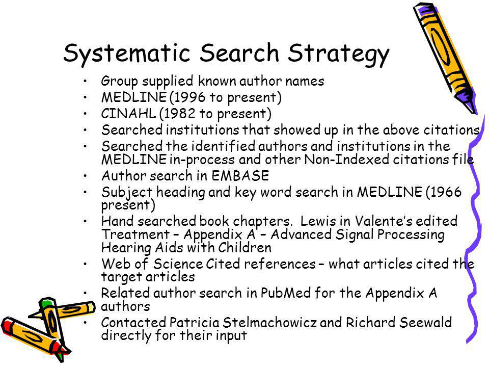 Systematic Search Strategy Group supplied known author names MEDLINE (1996 to present) CINAHL (1982 to present) Searched institutions that showed up i