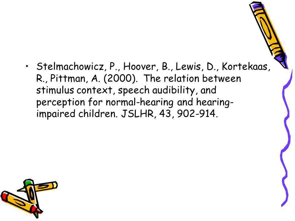 Stelmachowicz, P., Hoover, B., Lewis, D., Kortekaas, R., Pittman, A. (2000). The relation between stimulus context, speech audibility, and perception