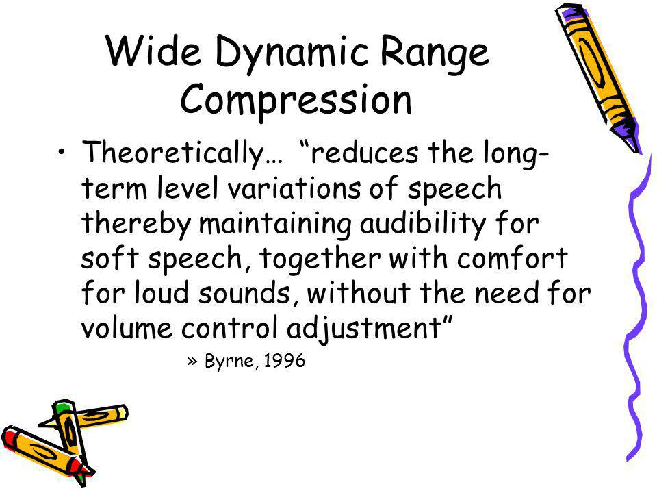 Wide Dynamic Range Compression Theoretically… reduces the long- term level variations of speech thereby maintaining audibility for soft speech, togeth