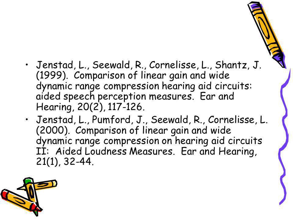 Jenstad, L., Seewald, R., Cornelisse, L., Shantz, J. (1999). Comparison of linear gain and wide dynamic range compression hearing aid circuits: aided