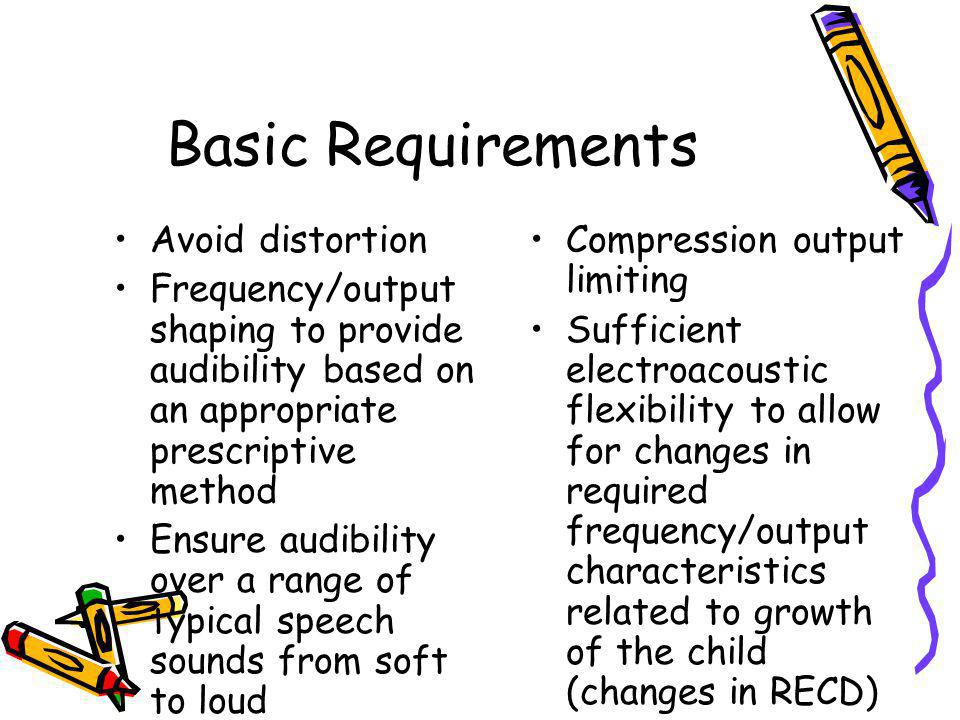 Basic Requirements Avoid distortion Frequency/output shaping to provide audibility based on an appropriate prescriptive method Ensure audibility over