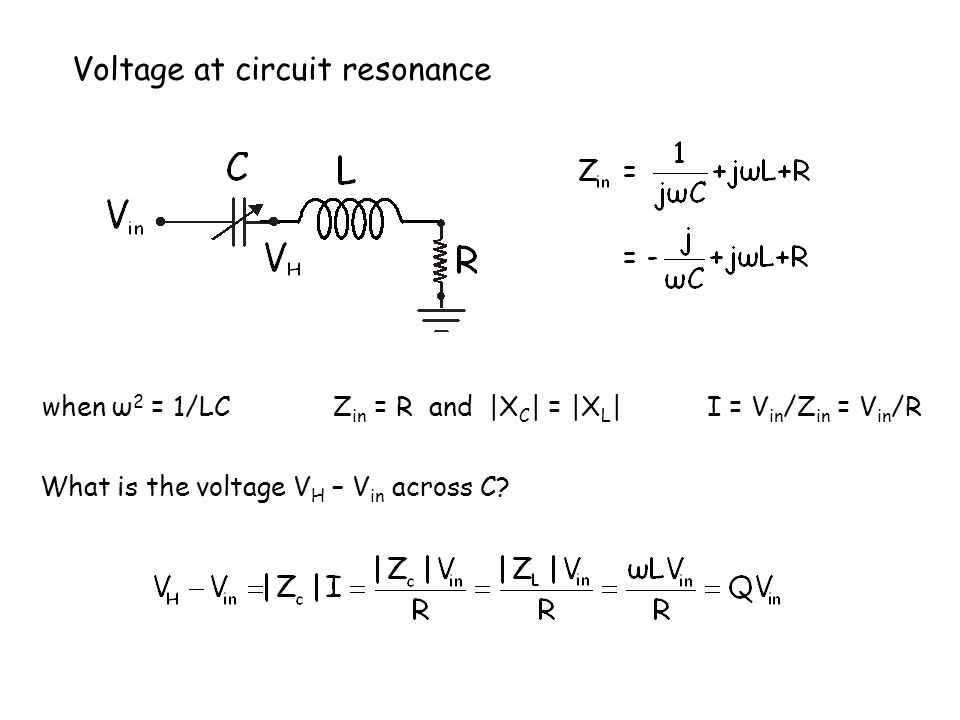 Voltage at circuit resonance when ω 2 = 1/LC Z in = R and |X C | = |X L | I = V in /Z in = V in /R What is the voltage V H – V in across C?