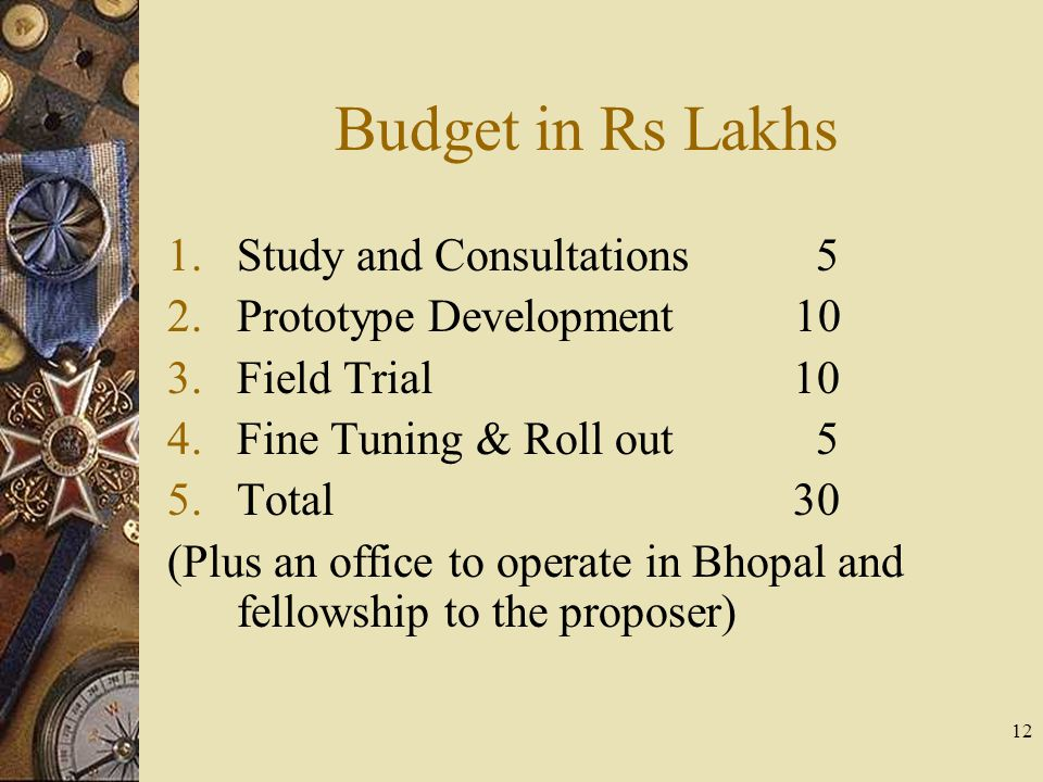 12 Budget in Rs Lakhs 1.Study and Consultations 5 2.Prototype Development 10 3.Field Trial10 4.Fine Tuning & Roll out 5 5.Total30 (Plus an office to operate in Bhopal and fellowship to the proposer)