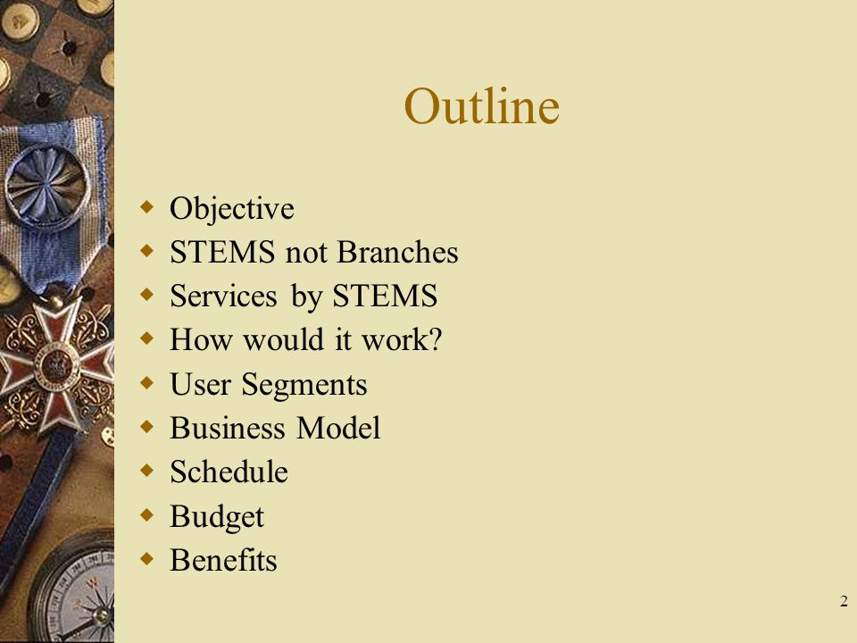 2 Outline Objective STEMS not Branches Services by STEMS How would it work.