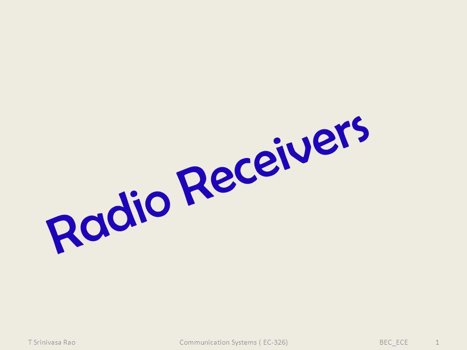 Radio Receivers T Srinivasa RaoBEC_ECE 1Communication Systems ( EC-326)
