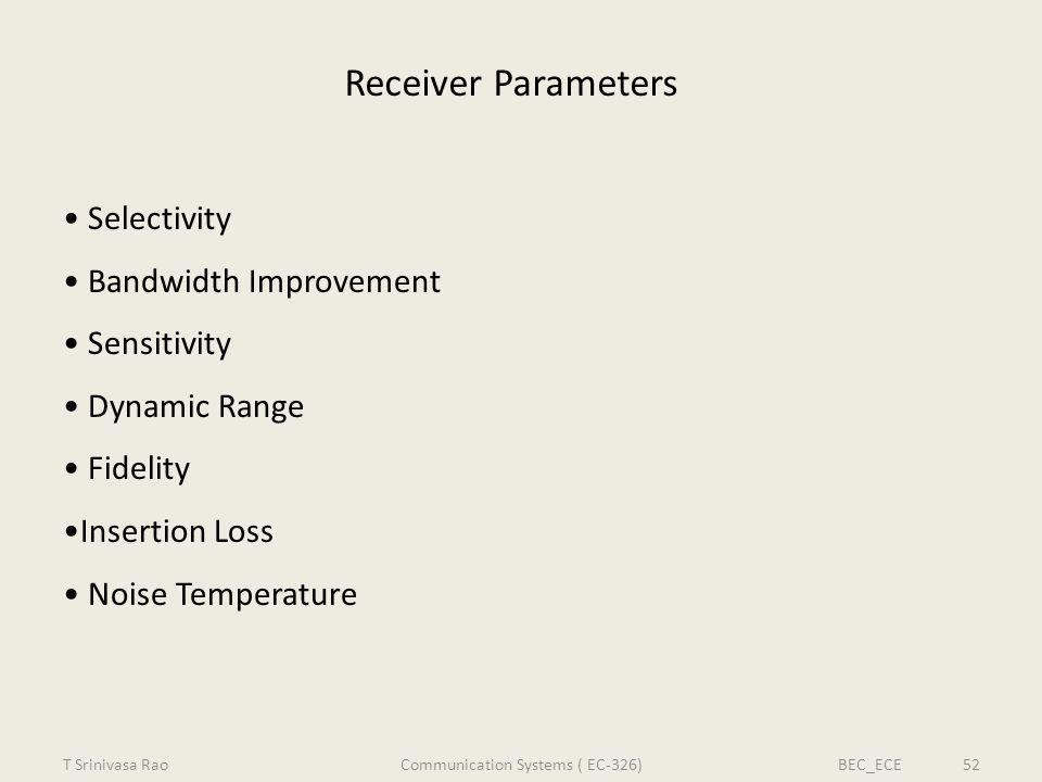 Receiver Parameters Selectivity Bandwidth Improvement Sensitivity Dynamic Range Fidelity Insertion Loss Noise Temperature T Srinivasa RaoBEC_ECE 52Com