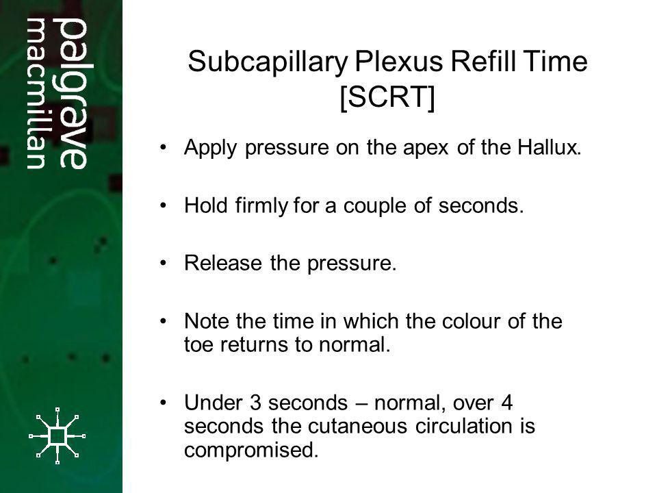 Subcapillary Plexus Refill Time [SCRT] Apply pressure on the apex of the Hallux. Hold firmly for a couple of seconds. Release the pressure. Note the t