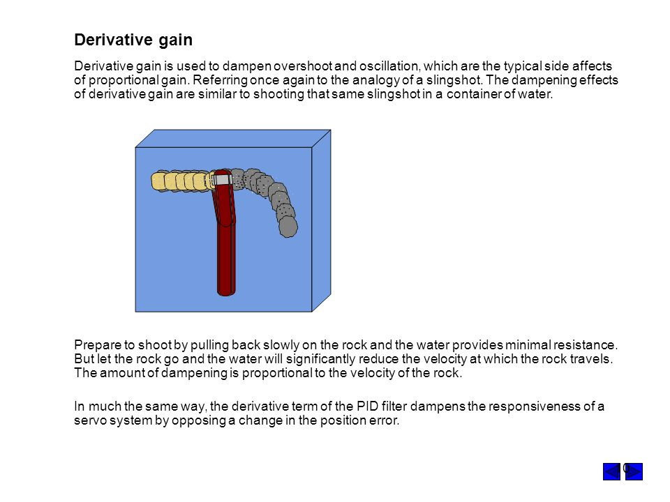 10 Derivative gain Prepare to shoot by pulling back slowly on the rock and the water provides minimal resistance.