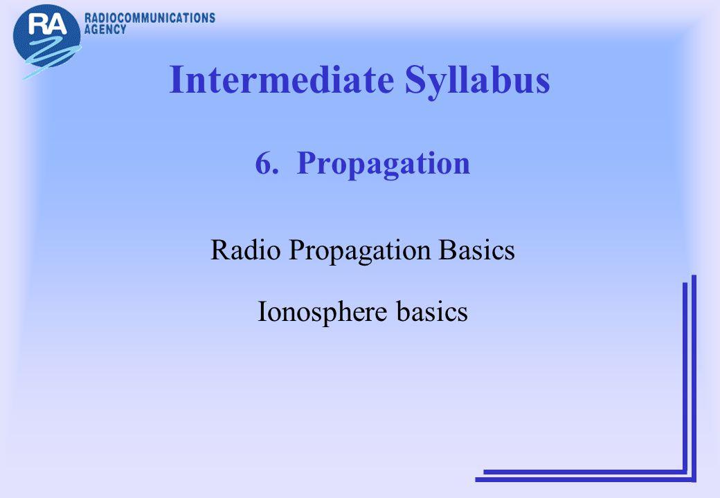Intermediate Syllabus 6. Propagation Radio Propagation Basics Ionosphere basics