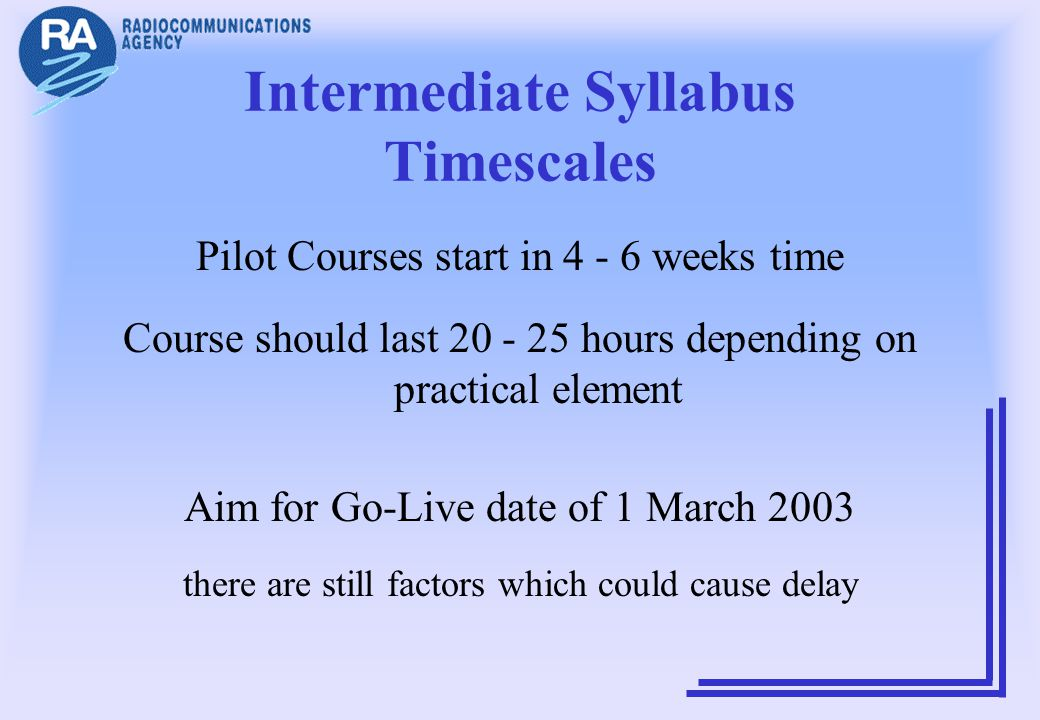 Intermediate Syllabus Timescales Pilot Courses start in 4 - 6 weeks time Course should last 20 - 25 hours depending on practical element Aim for Go-Li