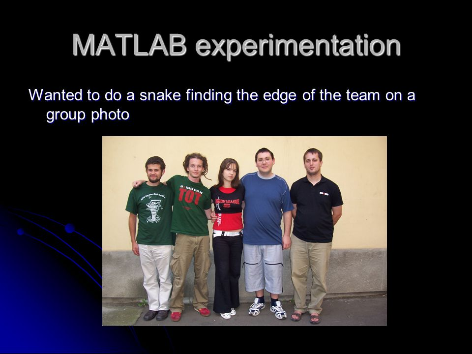 MATLAB experimentation Wanted to do a snake finding the edge of the team on a group photo