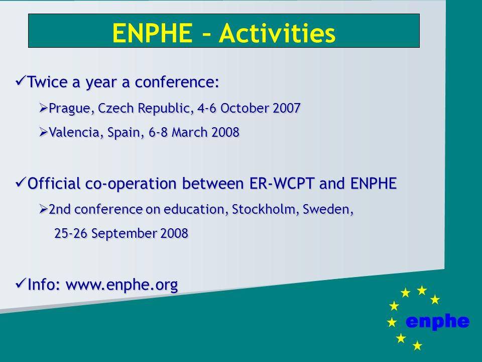 ENPHE – Activities Twice a year a conference: Twice a year a conference: Prague, Czech Republic, 4-6 October 2007 Prague, Czech Republic, 4-6 October 2007 Valencia, Spain, 6-8 March 2008 Valencia, Spain, 6-8 March 2008 Official co-operation between ER-WCPT and ENPHE Official co-operation between ER-WCPT and ENPHE 2nd conference on education, Stockholm, Sweden, 25-26 September 2008 2nd conference on education, Stockholm, Sweden, 25-26 September 2008 Info: www.enphe.org Info: www.enphe.org