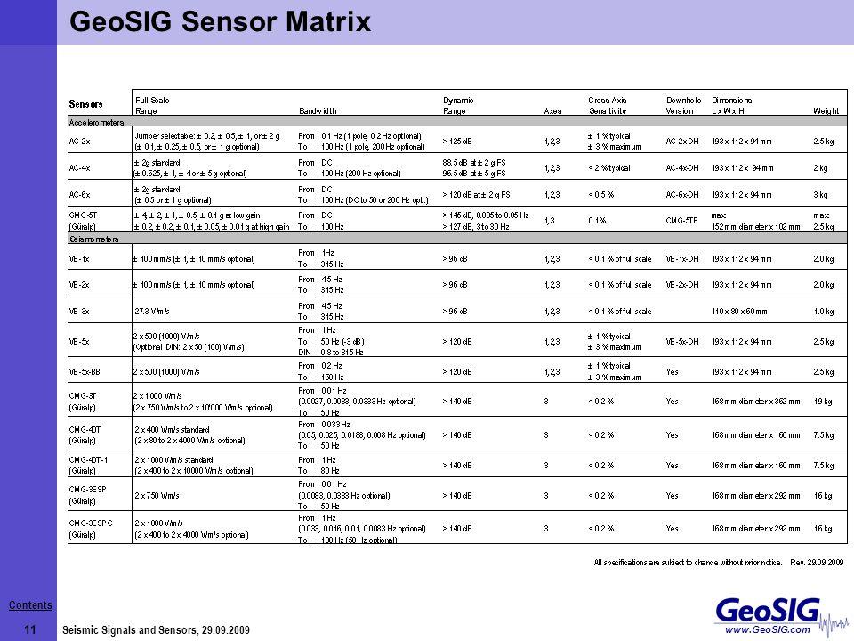 Contents 11 Seismic Signals and Sensors, 29.09.2009 www.GeoSIG.com GeoSIG Sensor Matrix