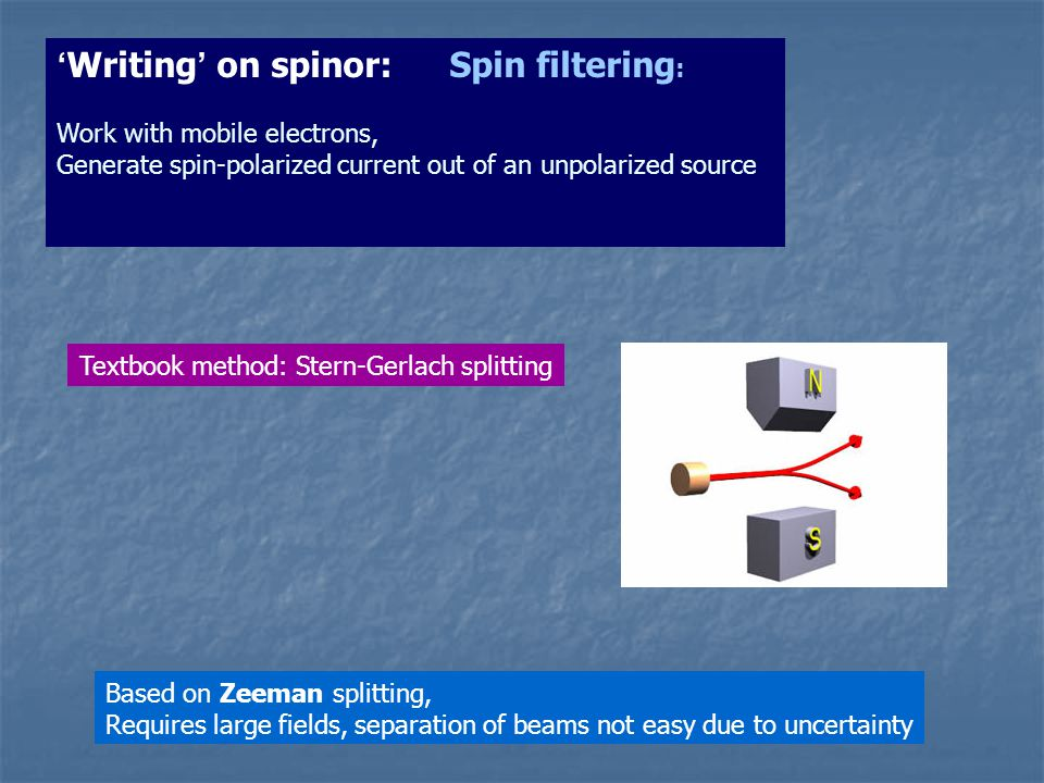 Textbook method: Stern-Gerlach splitting Based on Zeeman splitting, Requires large fields, separation of beams not easy due to uncertainty Writing on spinor: Spin filtering : Work with mobile electrons, Generate spin-polarized current out of an unpolarized source