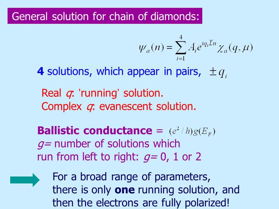 4 solutions, which appear in pairs, Real q: running solution.