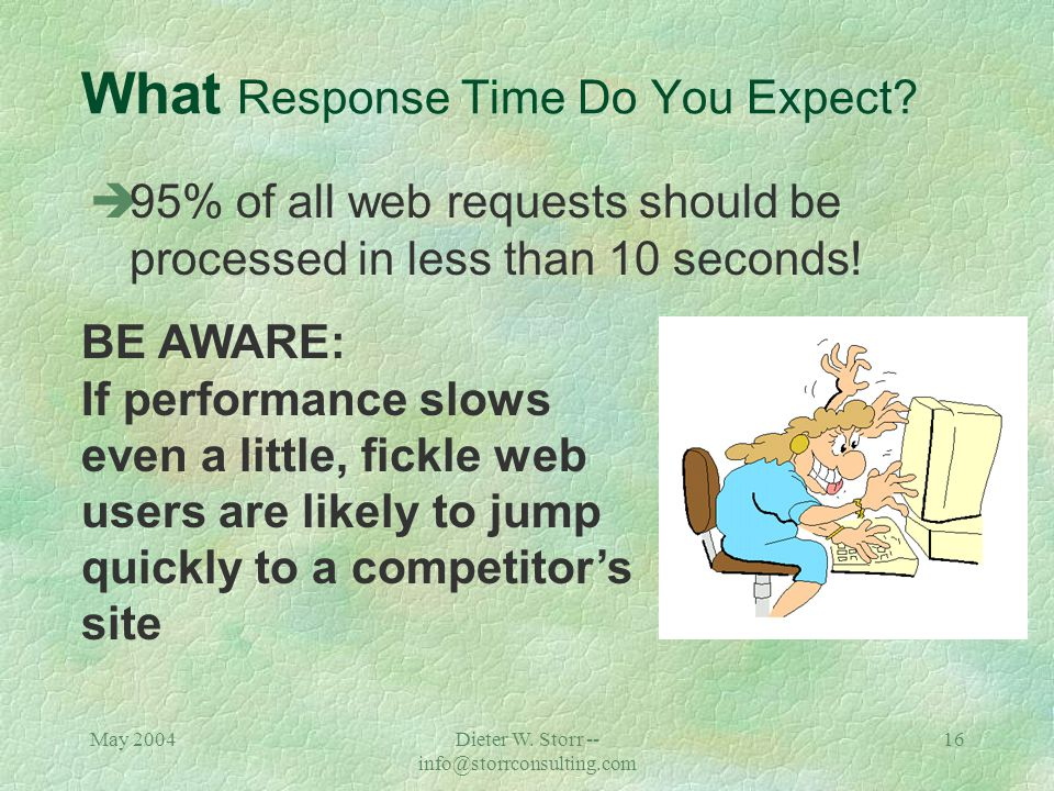 May 2004Dieter W. Storr -- info@storrconsulting.com 15 What Response Time Do You Expect.