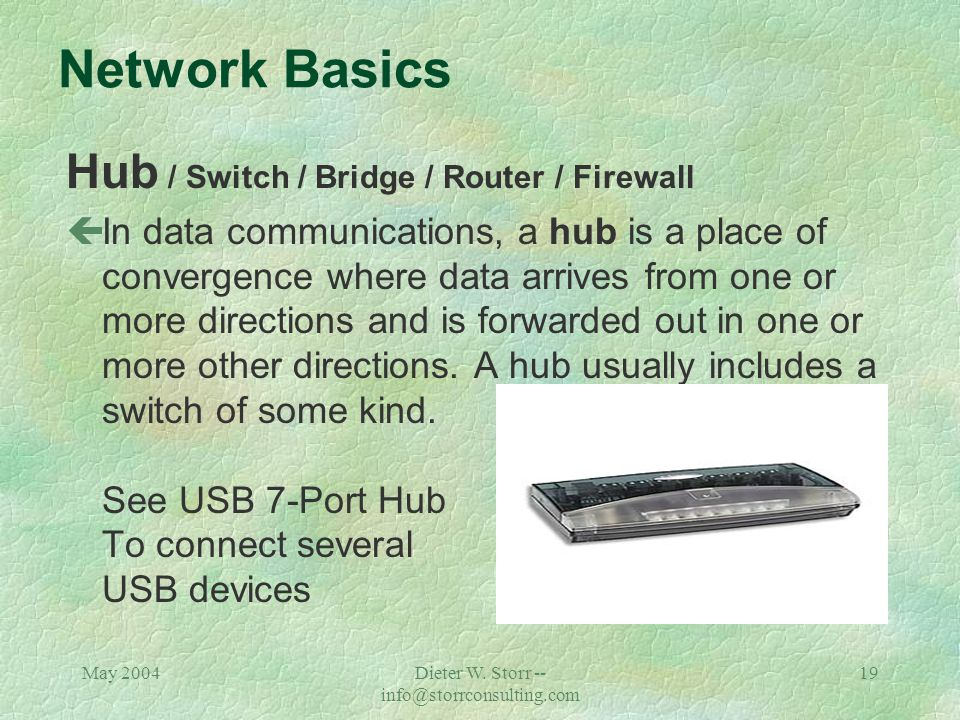 May 2004Dieter W. Storr -- info@storrconsulting.com 18 What Parts Play a Role in The Network? çHubs çSwitches çRouters çFirewalls çLoad Balancer çAppl