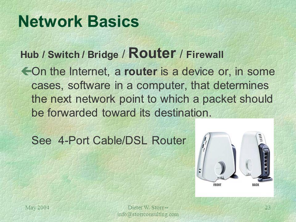 May 2004Dieter W. Storr -- info@storrconsulting.com 22 Network Basics Hub / Switch / Bridge / Router / Firewall çIn telecommunication networks, a brid