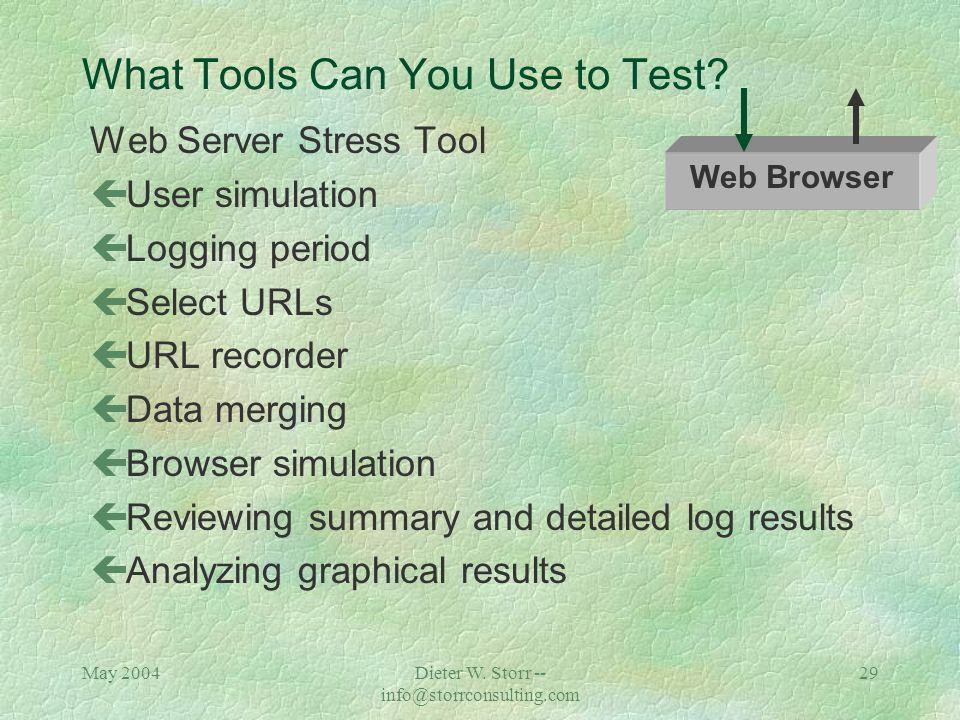 May 2004Dieter W. Storr -- info@storrconsulting.com 28 Response Time / Click Time Tests ADABAS NATURAL Appl. Server Web Server Web Browser Function: D