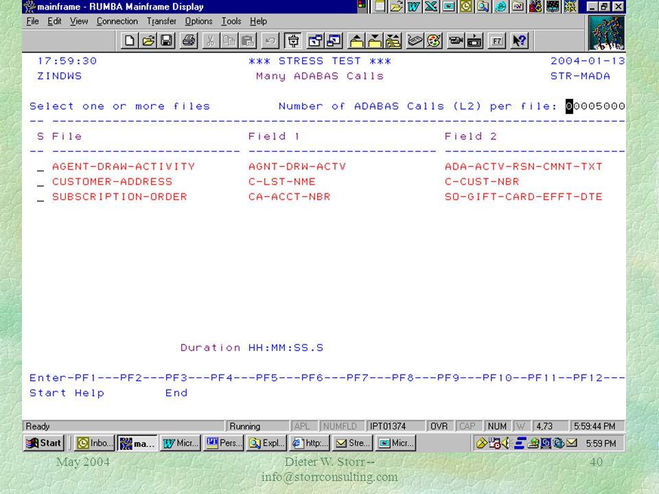 May 2004Dieter W. Storr -- info@storrconsulting.com 39