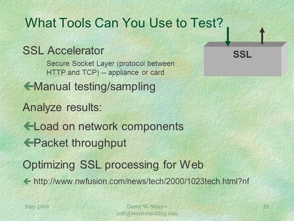 May 2004Dieter W. Storr -- info@storrconsulting.com 58 What Tools Can You Use to Test.