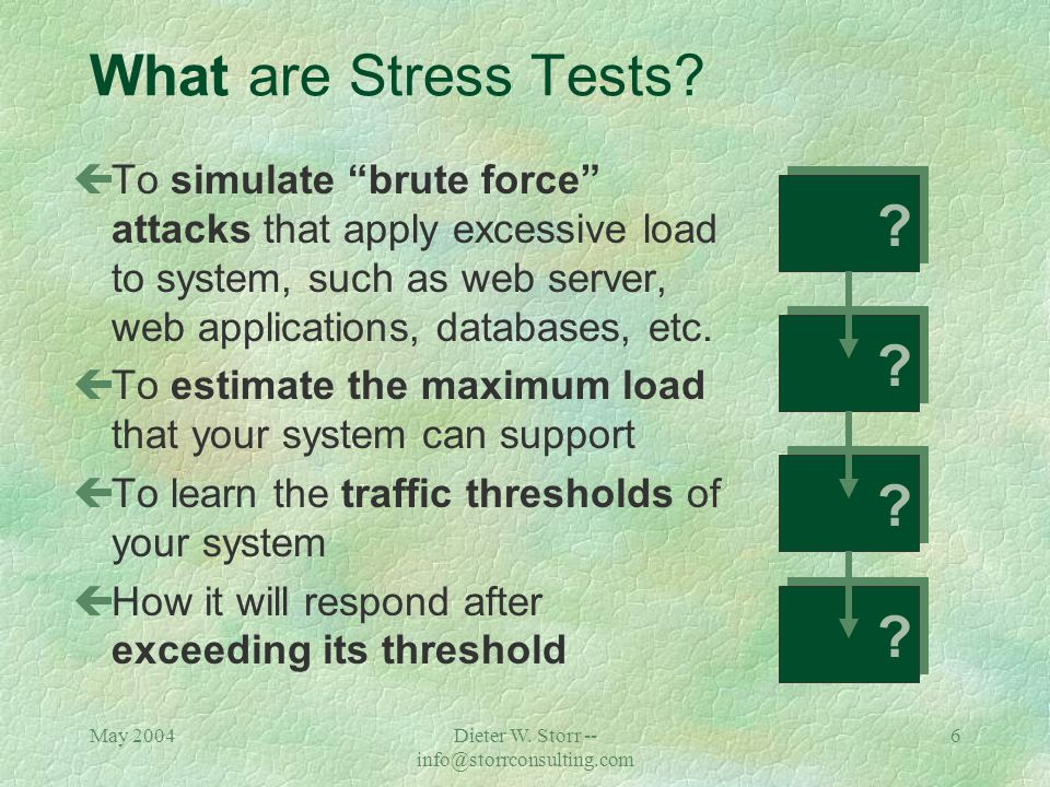 May 2004Dieter W. Storr -- info@storrconsulting.com 5 What are Load Tests.