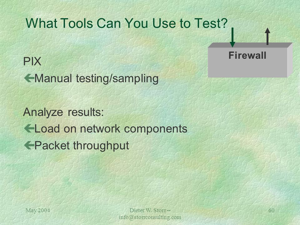 May 2004Dieter W. Storr -- info@storrconsulting.com 59 What Tools Can You Use to Test? SSL Accelerator Secure Socket Layer (protocol between HTTP and