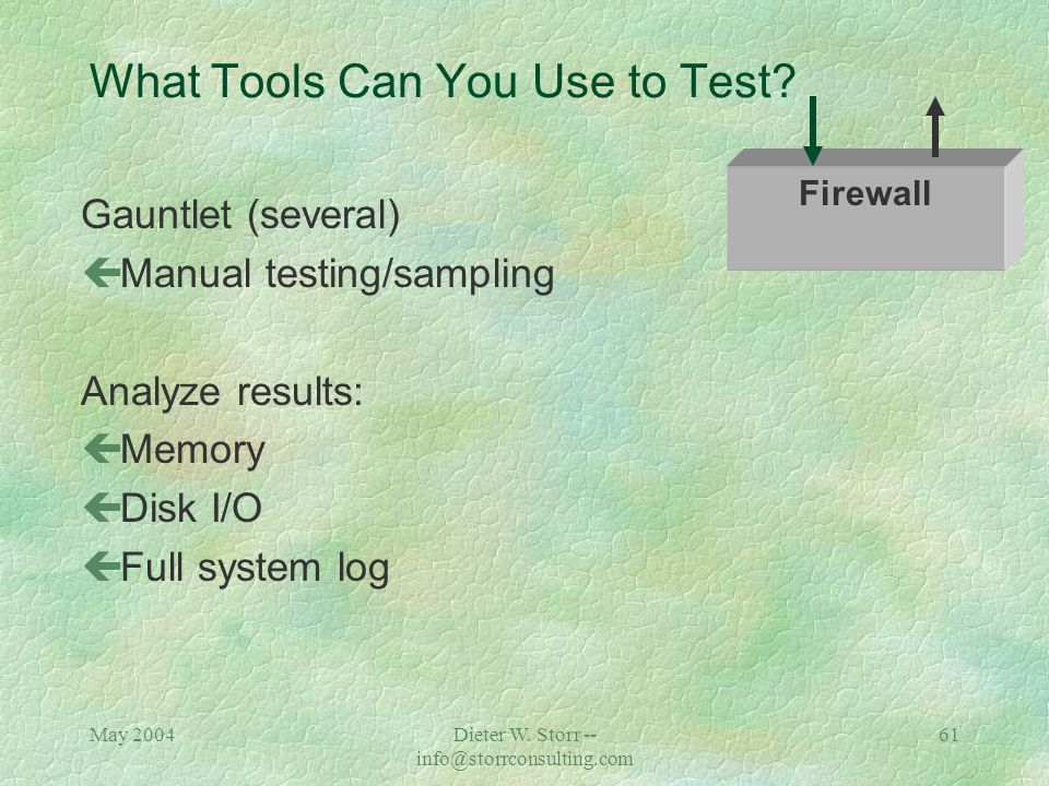 May 2004Dieter W. Storr -- info@storrconsulting.com 60 What Tools Can You Use to Test? PIX çManual testing/sampling Analyze results: çLoad on network
