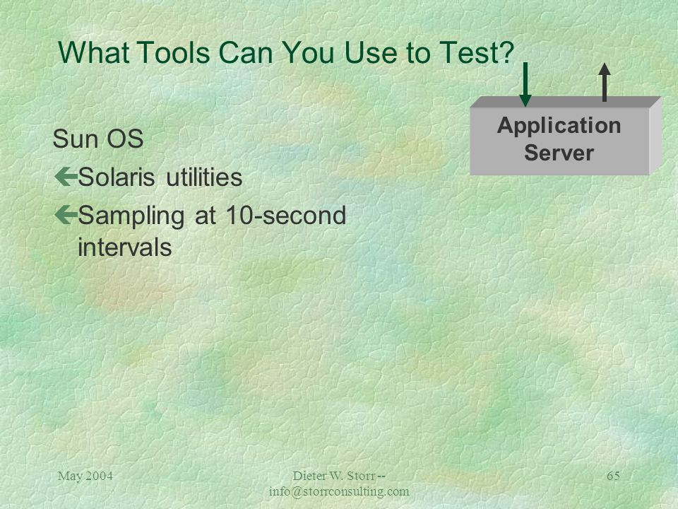 May 2004Dieter W. Storr -- info@storrconsulting.com 64 What Tools Can You Use to Test? Apache Application çLog Analyzer Analyze results: çNumber of se
