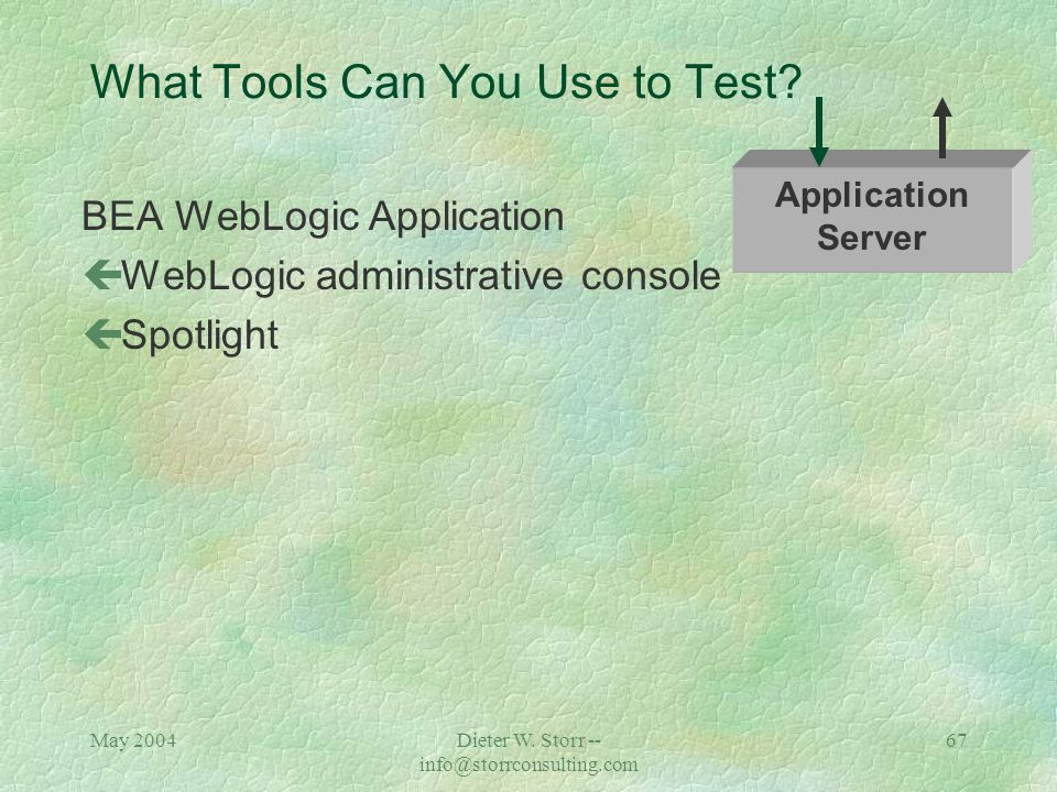 May 2004Dieter W. Storr -- info@storrconsulting.com 66 What Tools Can You Use to Test? Sun OS Analyze results: çCPU utilization çMemory utilization çR