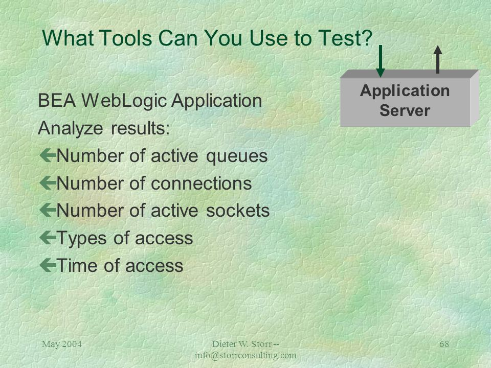 May 2004Dieter W. Storr -- info@storrconsulting.com 67 What Tools Can You Use to Test? BEA WebLogic Application çWebLogic administrative console çSpot
