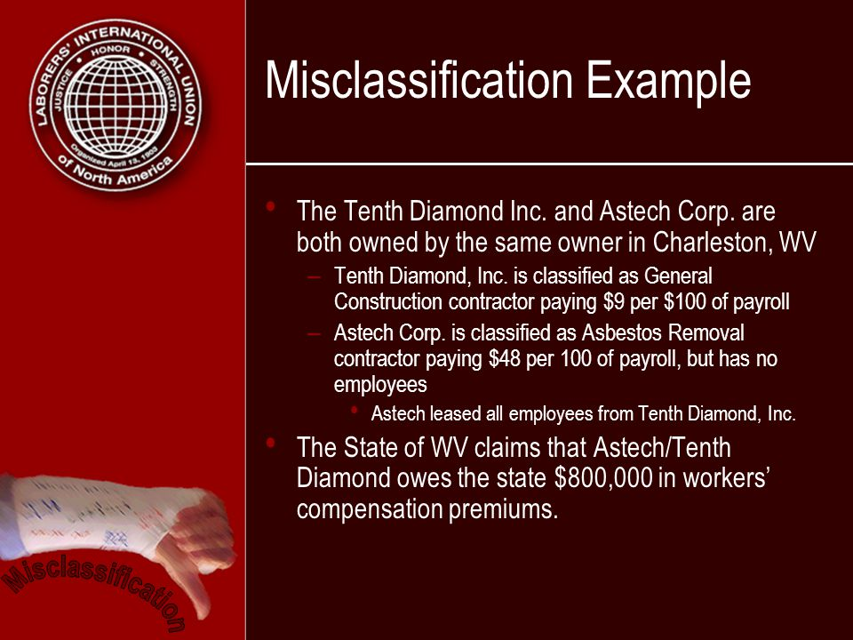 Misclassification Example The Tenth Diamond Inc. and Astech Corp.
